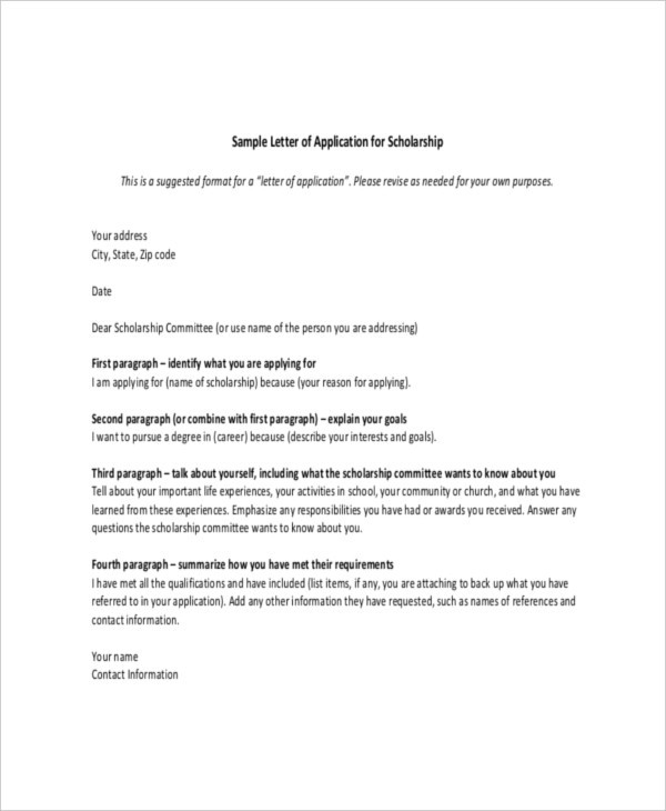 Scholarship Letter Template - 7+ Free Sample, Example Format intended for Scholarship Format Sample 21041
