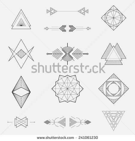 Set Of Geometric Shapes, Triangles, Line Design, Vector - Stock for Geometric Shapes Design Vector 24493