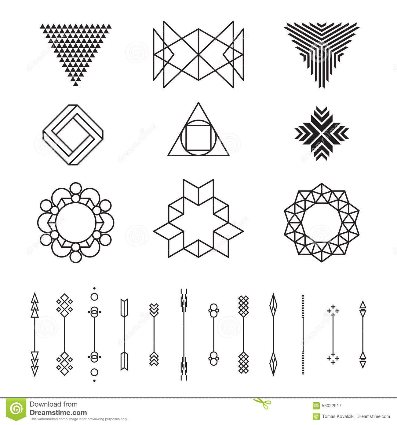 Set Of Geometric Shapes, Vector Illustration, Isolated, Line with Geometric Shapes Design Vector 24493