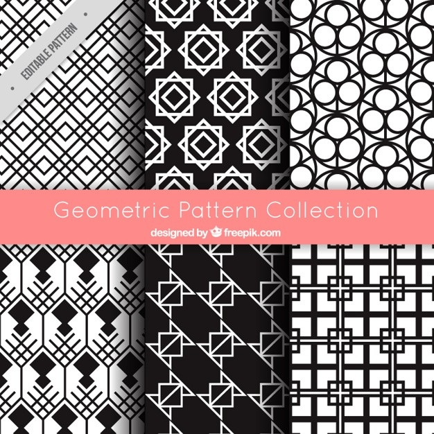 Set Patterns Of Geometric Shapes In Black And White Vector | Free pertaining to Geometric Shapes Patterns 23917