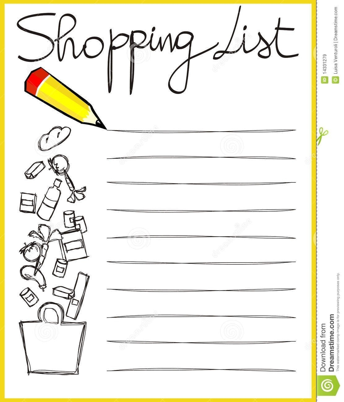 Shopping List Clipart Black And White | World Of Example for Shopping List Clipart Black And White 21671