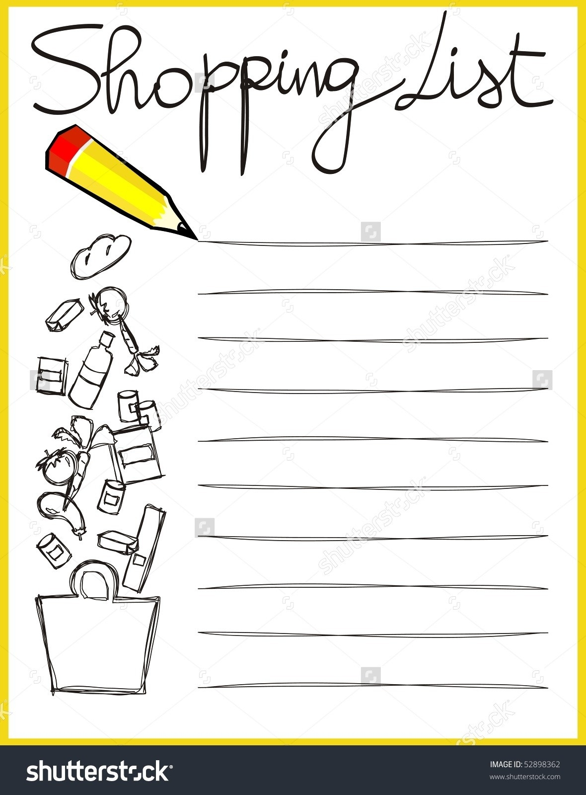 Shopping List Clipart Black And White | World Of Example in Shopping List Clipart Black And White 21671