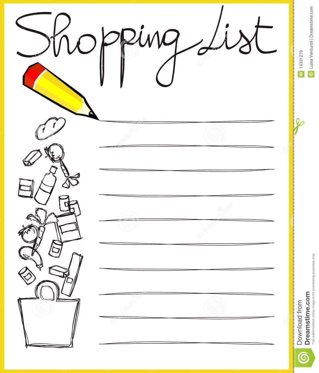 Shopping List Stock Vector. Illustration Of Memos, Tomato - 14331279 with Shopping List Clipart 20308