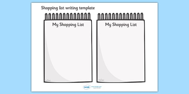 Shopping List Writing Template - Blank Shopping List Templates throughout Blank Shopping List 19271