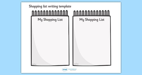 Shopping List Writing Template - Blank Shopping List Templates with Shopping List Template