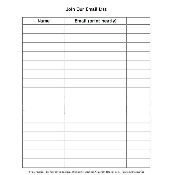 sign in sheet name and email blank sign in sheet template band