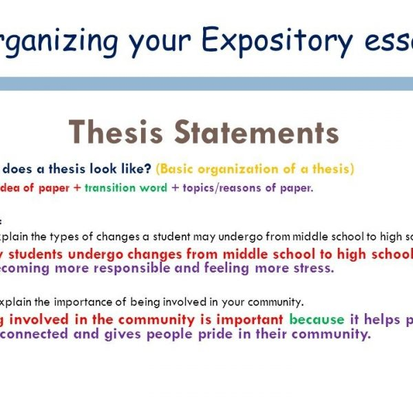 sample expository essay thesis statements