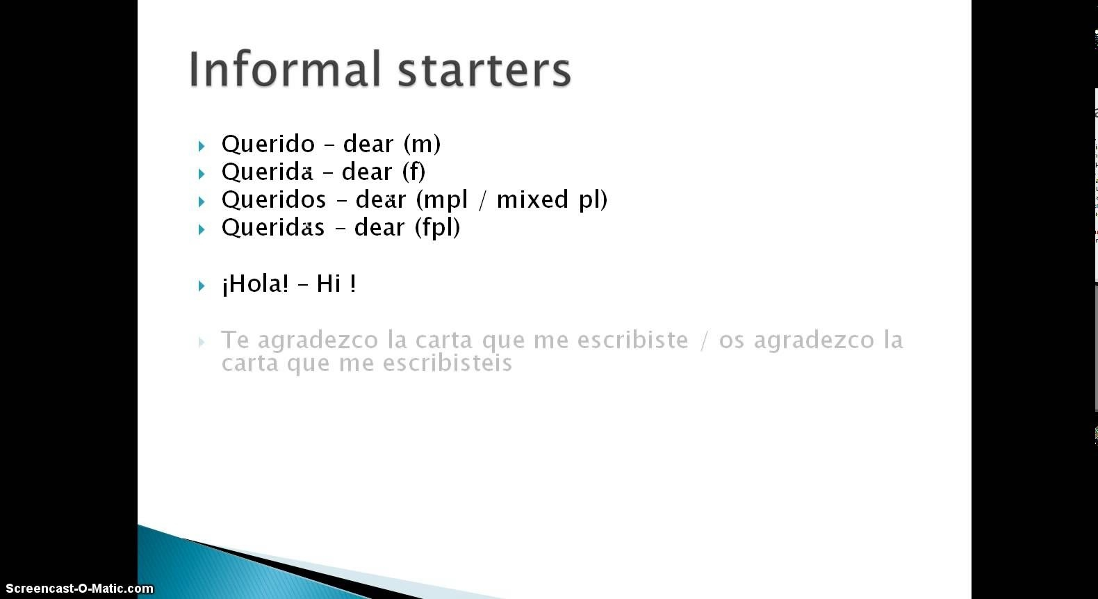 Informal Letter Format Spanish Examples And Forms