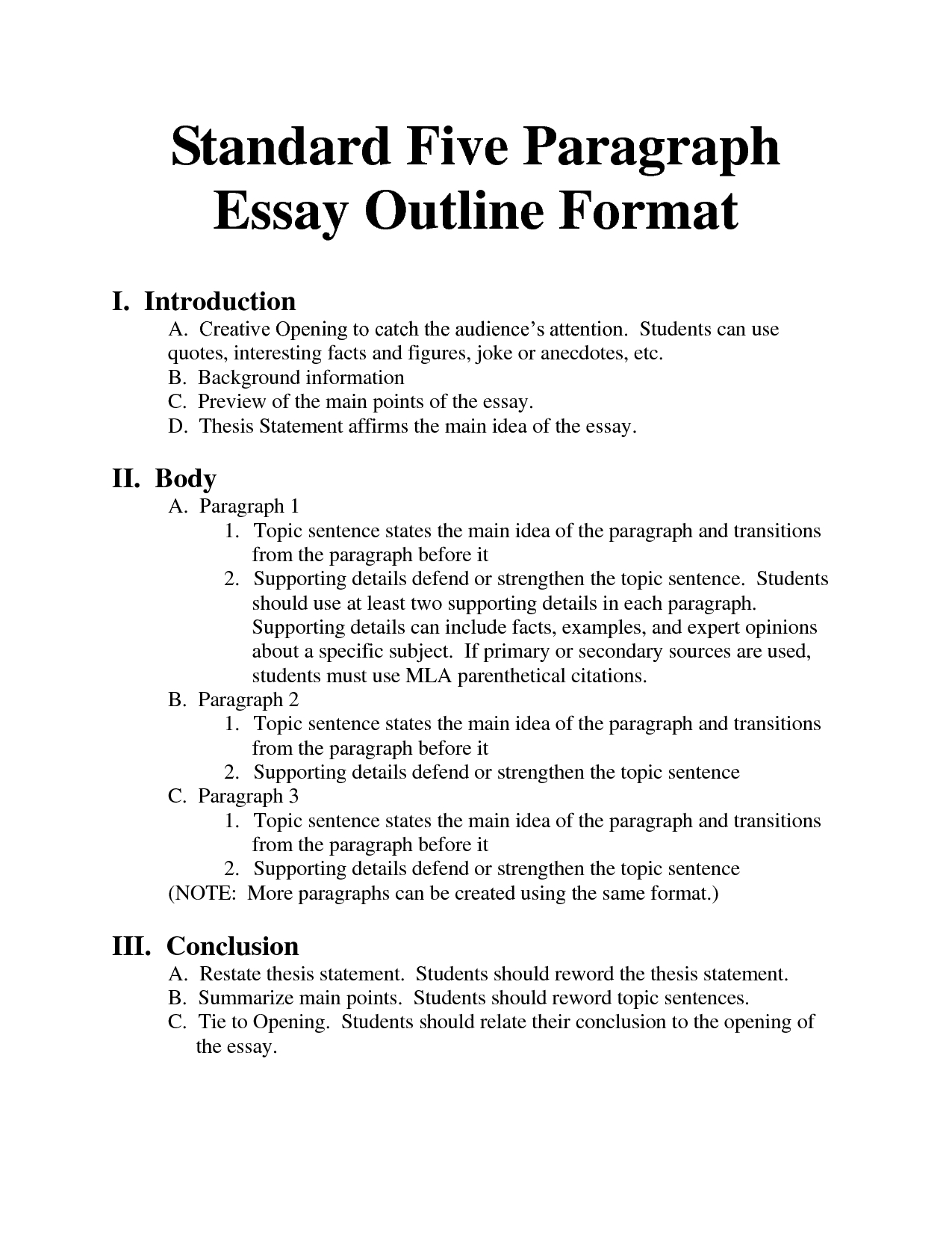 Standard Essay Format - Bing Images | Essays Homeschool throughout Essay Outline Format 22325
