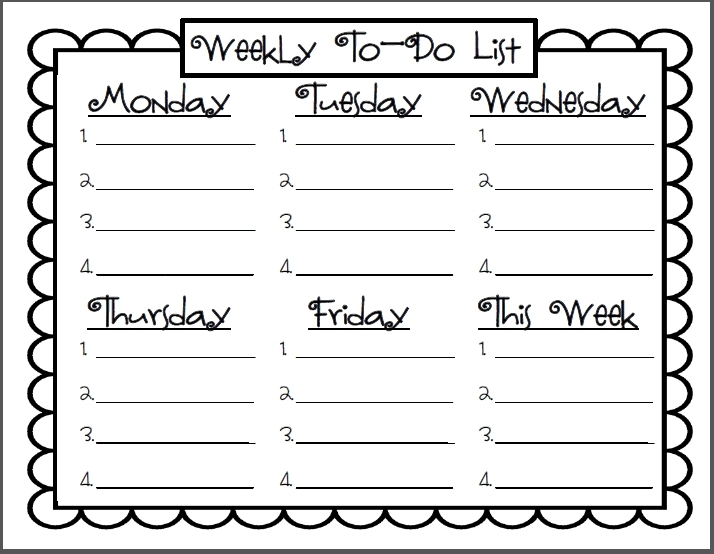 Teacher Weekly To Do List | World Of Example intended for Teacher Weekly To Do List 21631