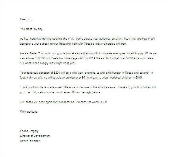 Thank You Letter For Donation – 8+ Free Sample, Example Format with Thank You Letter Format For Kids 20931