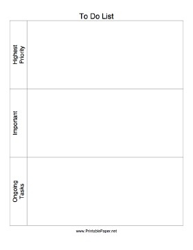 This Printable To Do List Has Large Boxes To List Tasks By in Priority To Do List Printable 22834