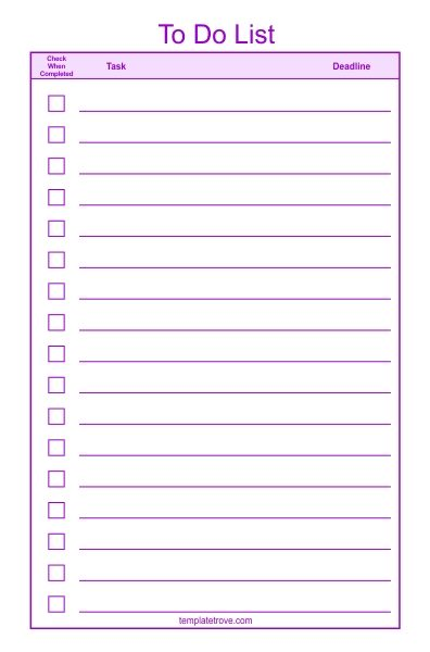 To Do Checklist Template  Inside Checklist Template Png  Examples