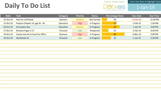 To Do List Excel Template | Free To Do List in Excel Daily To Do List Template 24100