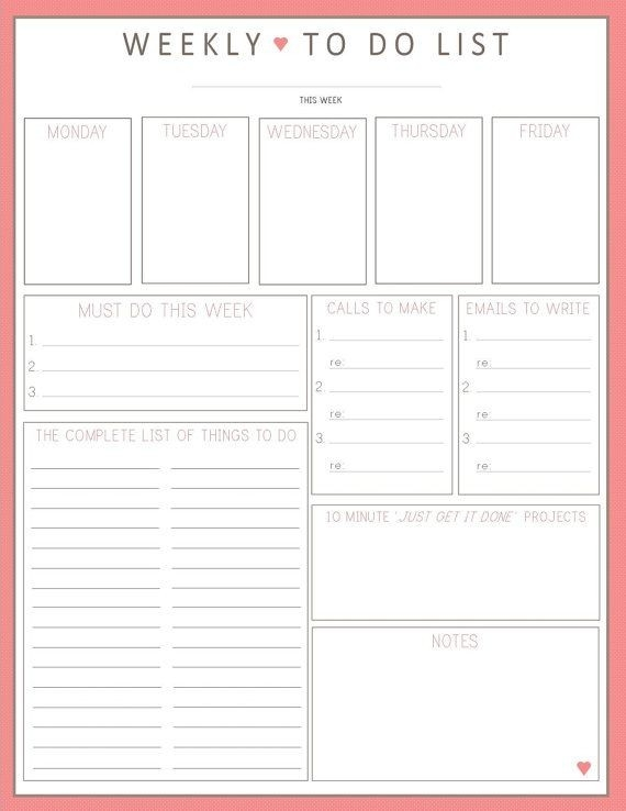 To Do List Organizer | To Do List Template regarding Cute Weekly To Do List 21431