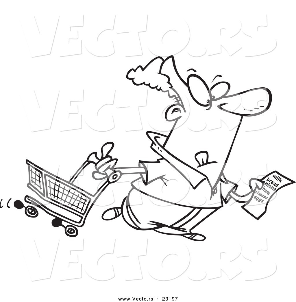 Vector Of A Cartoon Guy With A Shopping List - Coloring Page inside Shopping List Clipart Black And White 21671