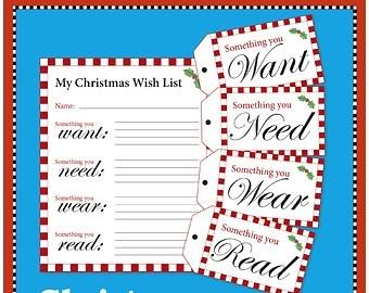 Want Need Wear Read | Etsy in Printable Christmas List Want Need Wear Read 24333