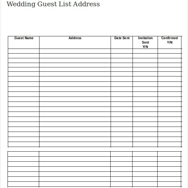 Wedding Guest List Template 9 Free Word Excel Pdf Documents For Numbered