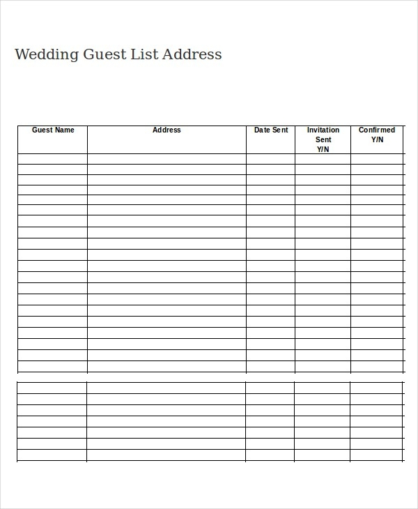 Wedding Guest List Template - 9+ Free Word, Excel, Pdf Documents for Numbered Guest List 20448