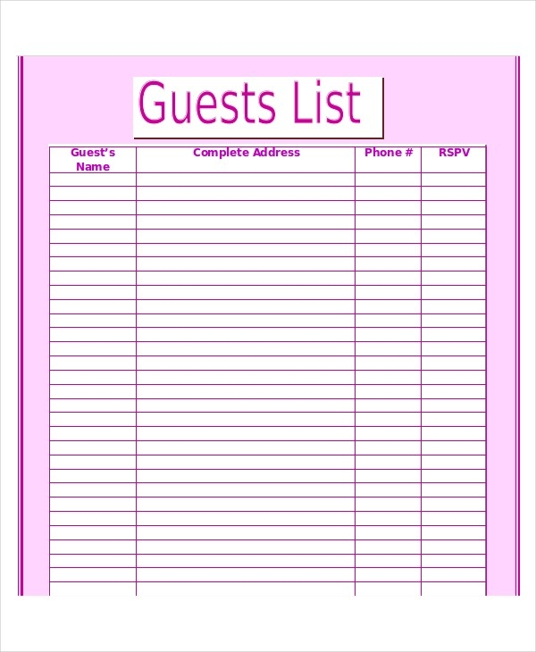 Wedding Guest List Template - 9+ Free Word, Excel, Pdf Documents within Printable Wedding Guest List Template 24222