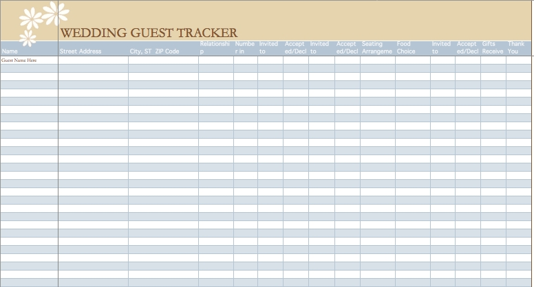 Wedding Guest List Template | Microsoft Excel Templates pertaining to Wedding Guest List Template Excel 24232
