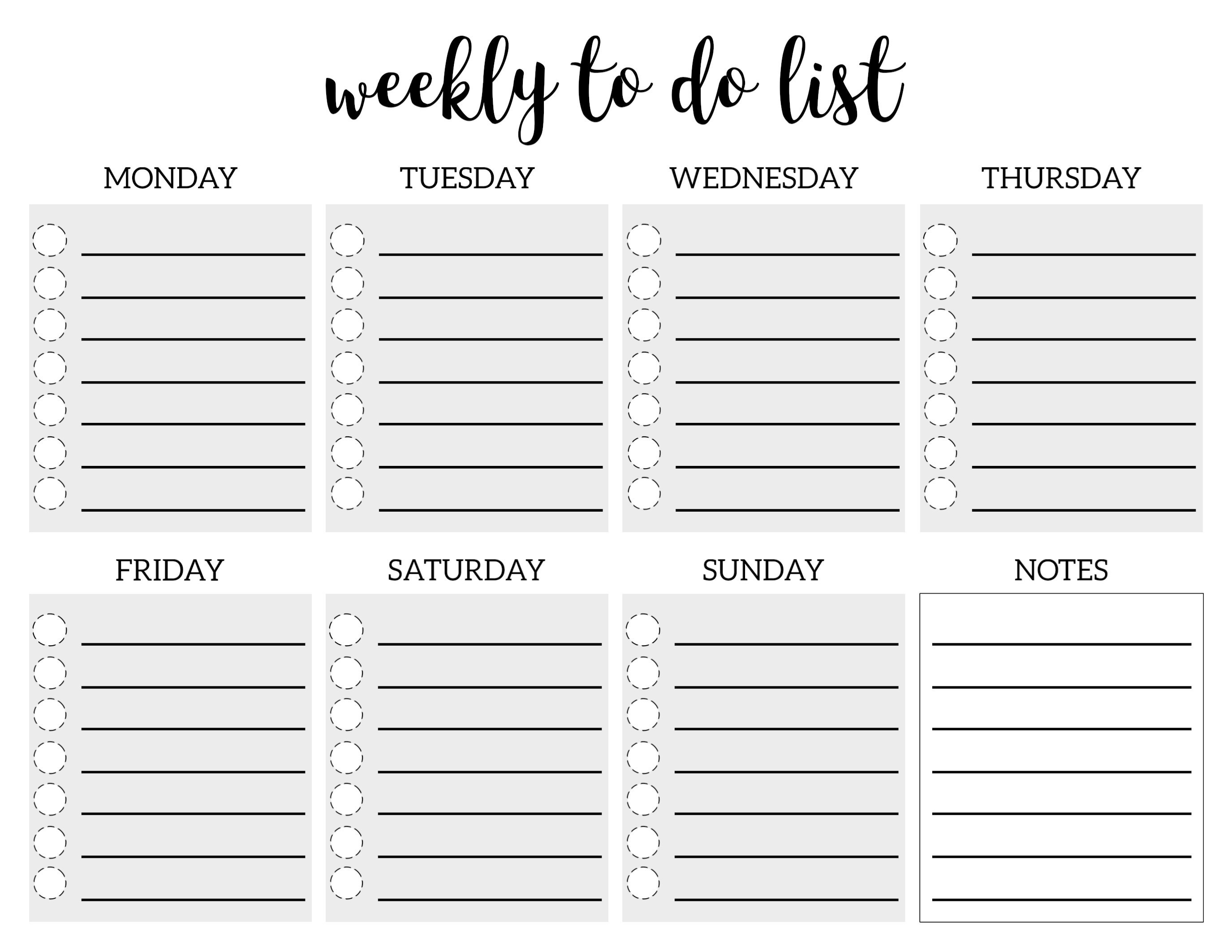 Weekly Checklist Template | World Of Example with regard to Weekly Checklist Template 22054