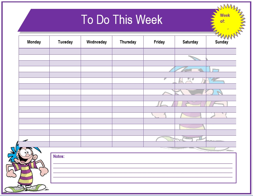 Weekly To Do List Template - Microsoft Word Templates within Weekly To Do List Template Word 22684