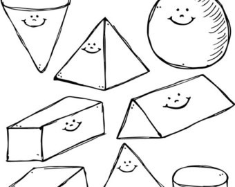 White 3D Clipart in 3D Shapes Clip Art Black And White 19553
