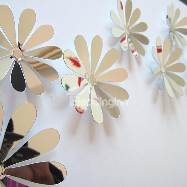 Wonderful Acrylic Mirror Surface Flower Design 3D Wall Sticker within 3D Flower Stickers 19362