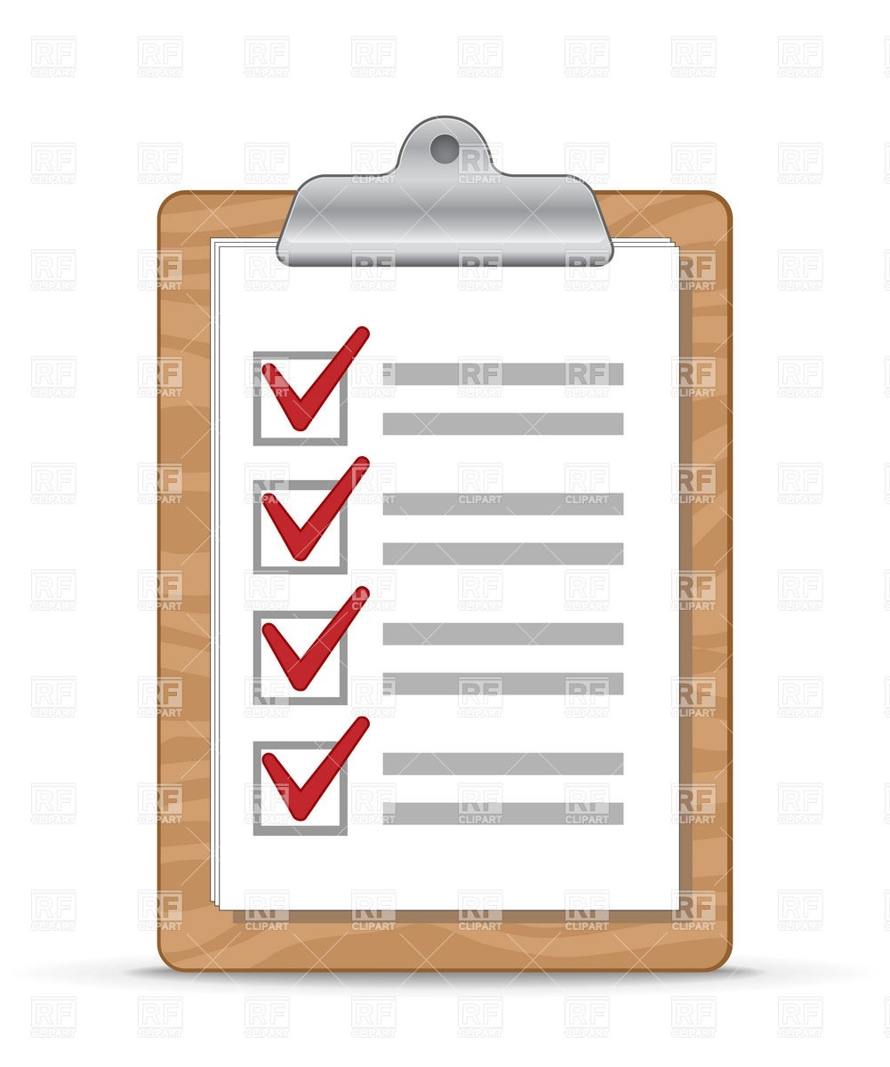 Wooden Clipboard With A Checklist Royalty Free Vector Clip Art pertaining to Checklist Clipboard 20388