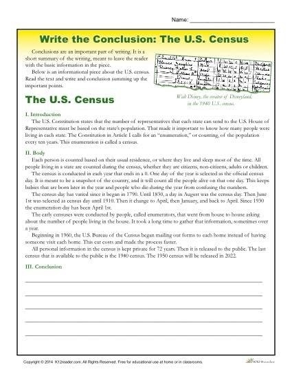 Write The Conclusion Writing Activity – The U.s. Census For for Conclusion Paragraph Examples 5Th Grade 20770