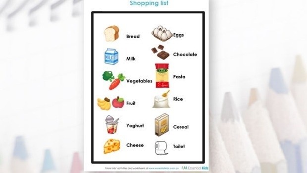 Younger Kids Activity | Shopping List | Essential Kids within Shopping List Printable For Kids 21691