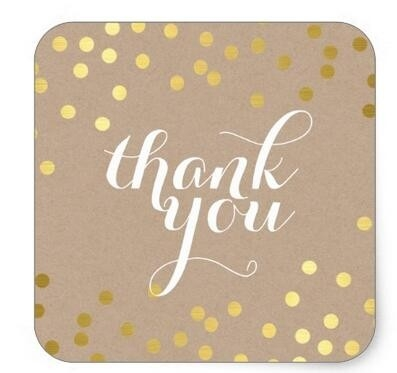1.5Inch Cute Thank You Seal Modern Gold Confetti Eco Square regarding Thank You Stickers Square 28299