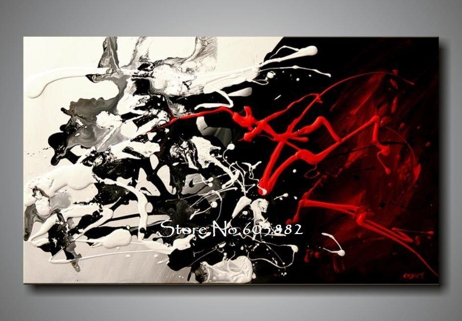 100% Hand Painted Discount Large Black White And Red Abstract Art with regard to Black And White Wall Art Painting 28031