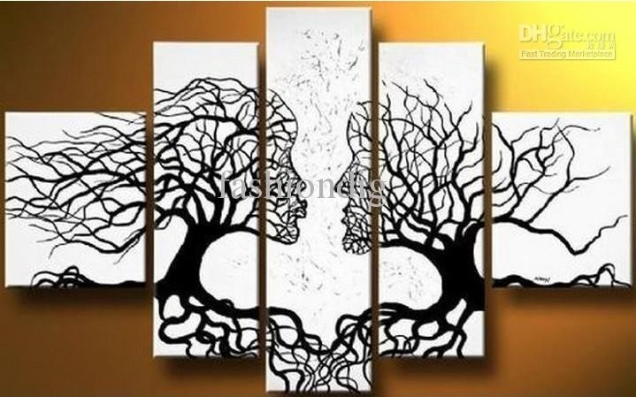 2018 Abstract Black White Oil Painting Couple Love Tree Home throughout Black And White Abstract Wall Art 27300