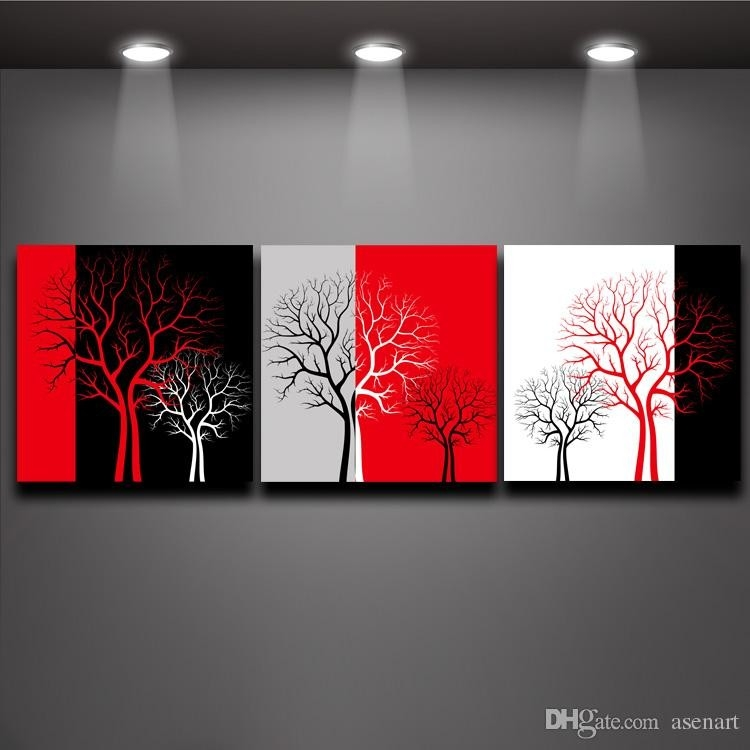 2018 Red Black White Three Colors Tree Picture Oil Painting Prints with regard to Black And White Wall Art With Red 26714