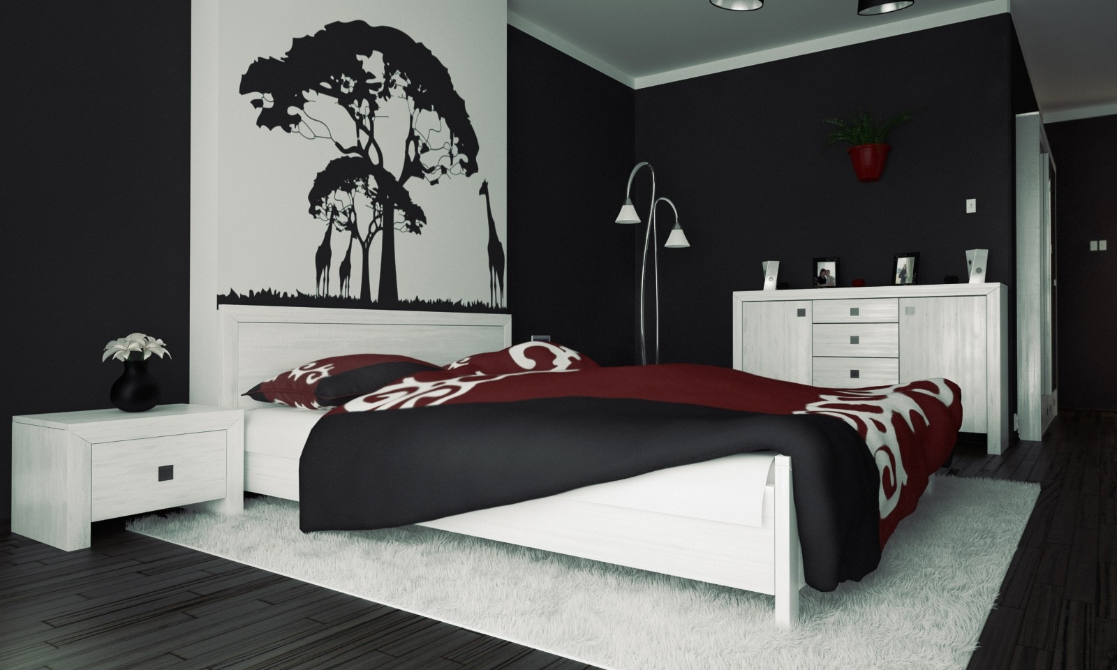3 Black And White Bedroom Ideas - Midcityeast throughout Bedroom Wall Painting Designs Black And White 30010