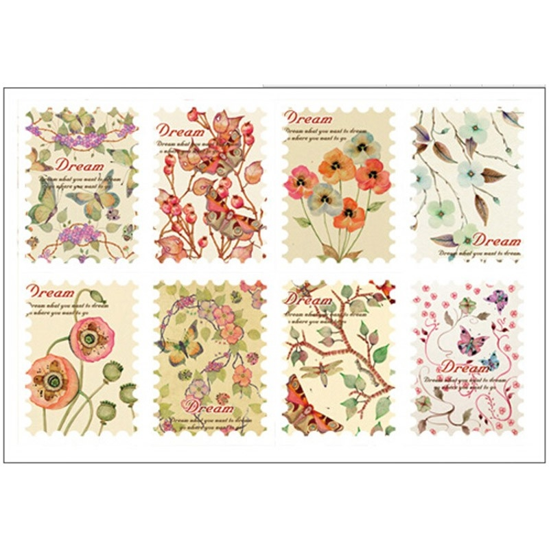 3 Sheets/lot Vintage Flower Stamp Paper Sticker Diy Diary in Vintage Flower Stickers 28280