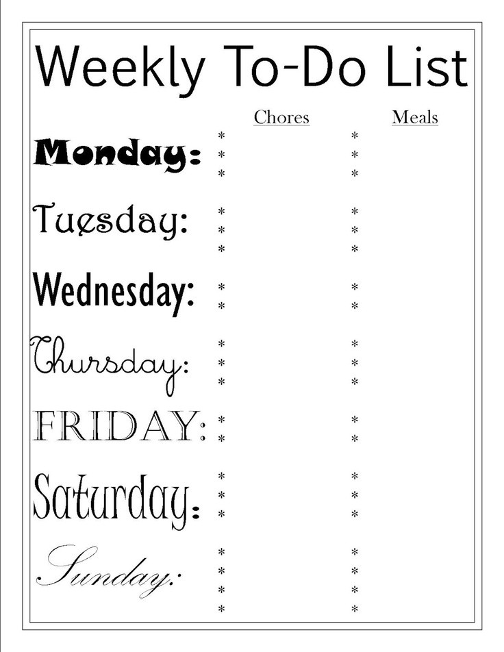 39 Best Free Printables ~ Lists/organization Images On Pinterest with Cute To Do List Printable Black And White 25976