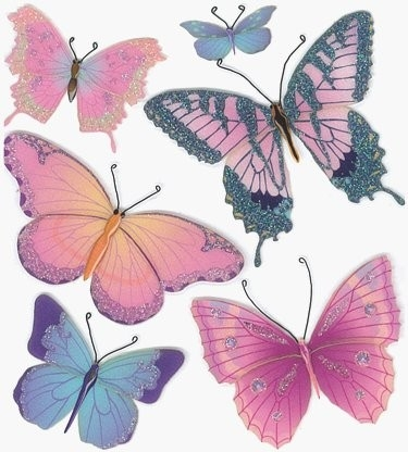 3D Glitter Pink Butterflies Stickers #10051 :: Flower Stickers in Butterfly Stickers For Scrapbooking 26493