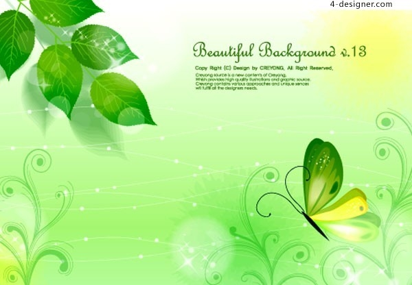4-Designer | A Beautiful Butterfly Green Leaf Fantasy Background for Bookmark Background Designs Green 27210