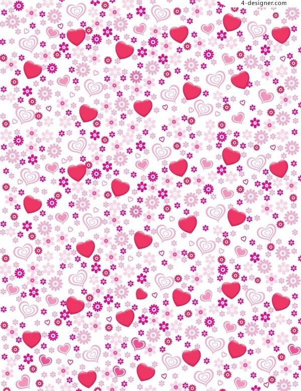 4-Designer | Pink Heart Shaped Flowers Background Vector Material in Bookmark Background Designs Pink 27119