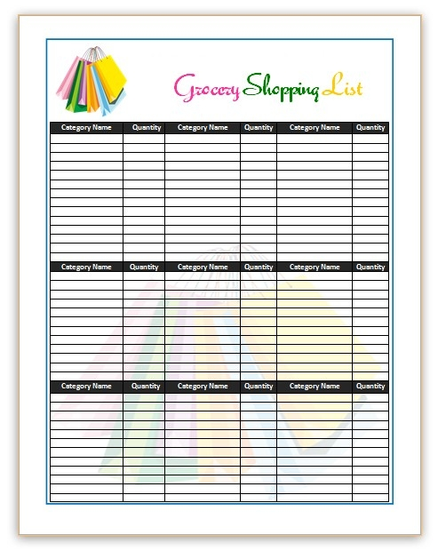 7 Shopping List Templates | Office Templates Online with Grocery List With Prices Template 26109