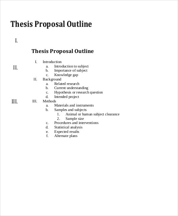 8 Thesis Outline Templates - Free Sample ,example, Format Download regarding Thesis Outline Example 28851