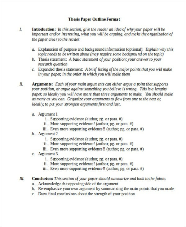 8 Thesis Outline Templates - Free Sample ,example, Format Download with regard to Thesis Outline Example 28851