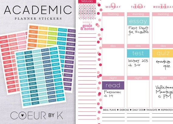 A B O U T ] Organize Your Student Planner Or Calendar With These pertaining to Calendar Stickers For College Students 28268