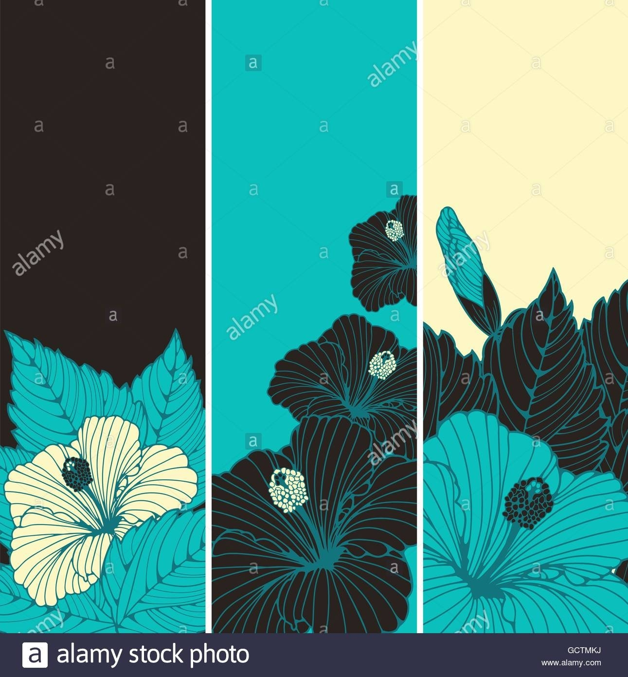 A Set Of Three Bookmark Backgrounds With Hibiscus Flowers Patterns with regard to Bookmark Background Designs Blue 27200