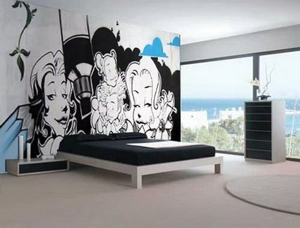 Abstract Black And White Graffiti In Cool Bedroom Wall Stickers within Black And White Bedroom Wall Art 26704