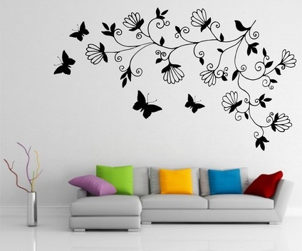 Abstract Dark Tree Butterfly Wall Stickers Decals Art For For throughout Simple Wall Art Painting 29763