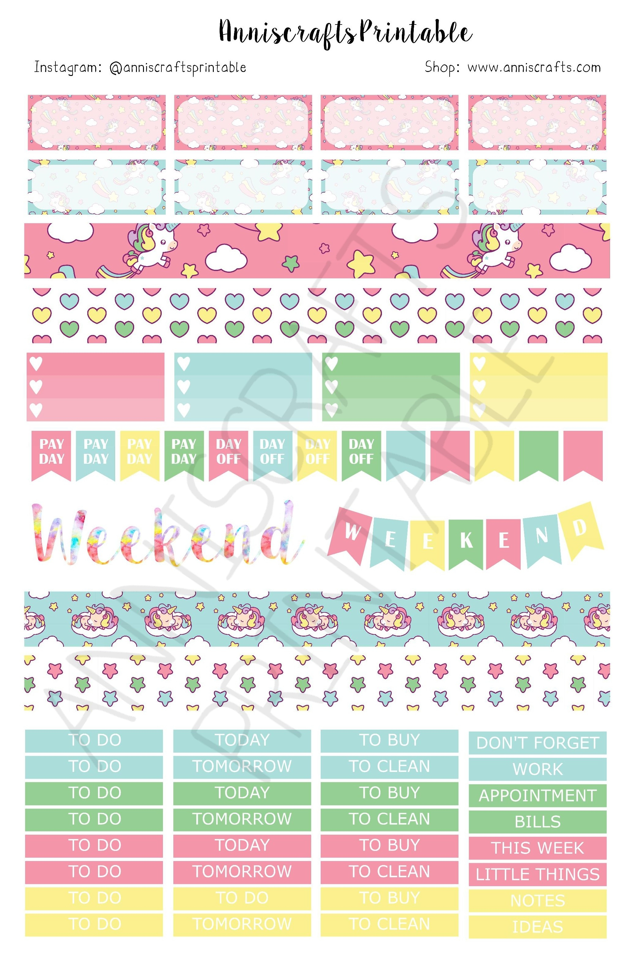 Acp02 Printable Kawaii Cute Planner Stickers Unicorn Rainbow Pink within Cute Planner Stickers 30419